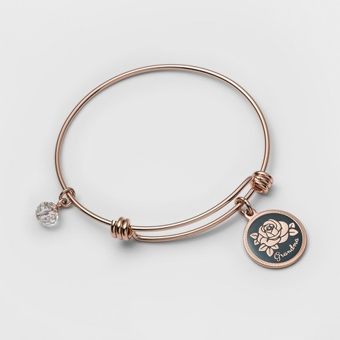 "Stainless Steel Grandma Your love makes all things blossom Bangle Bracelet (8"") - Rose Gold - image 1 of 1"
