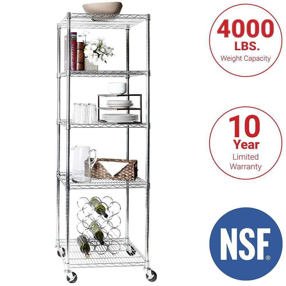 "Image of ""Seville Classics 24""""x18""""x72"""" 5 Tier UltraZinc Steel Wire Shelving"""