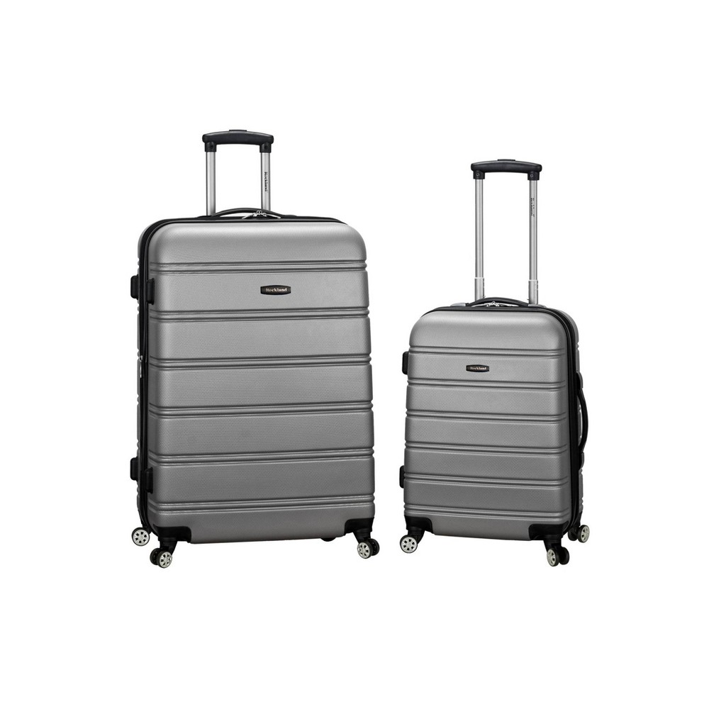 Rockland Melbourne 2pc Expandable Abs Spinner Luggage Set Silver