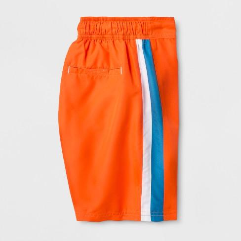 7b792ef8d4023 Boys' Racing Stripe Swim Trunks - Cat & Jack™ Orange L HUSKY : Target