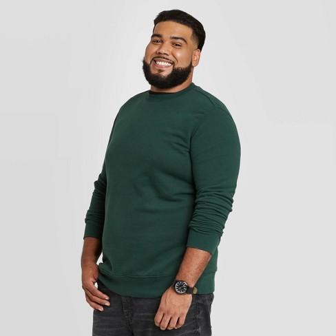 Men's Big & Tall Regular Fit Fleece Crew Sweatshirt - Goodfellow & Co™ Green - image 1 of 3