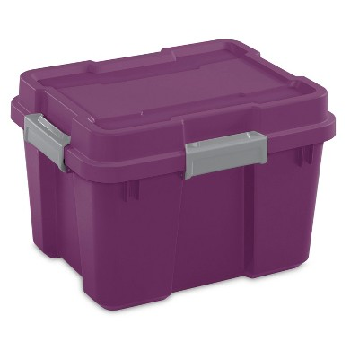 Sterilite 20 Gal Heavy Duty Plastic Gasket Tote Stackable Storage Container Box w/ Lid and Latches for Home Organization, Exotic Purple/Gray (12 Pack)