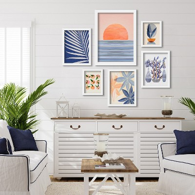 Americanflat Minimal Sunrise II by Modern Tropical 6 Piece Framed Gallery Wall Art Set