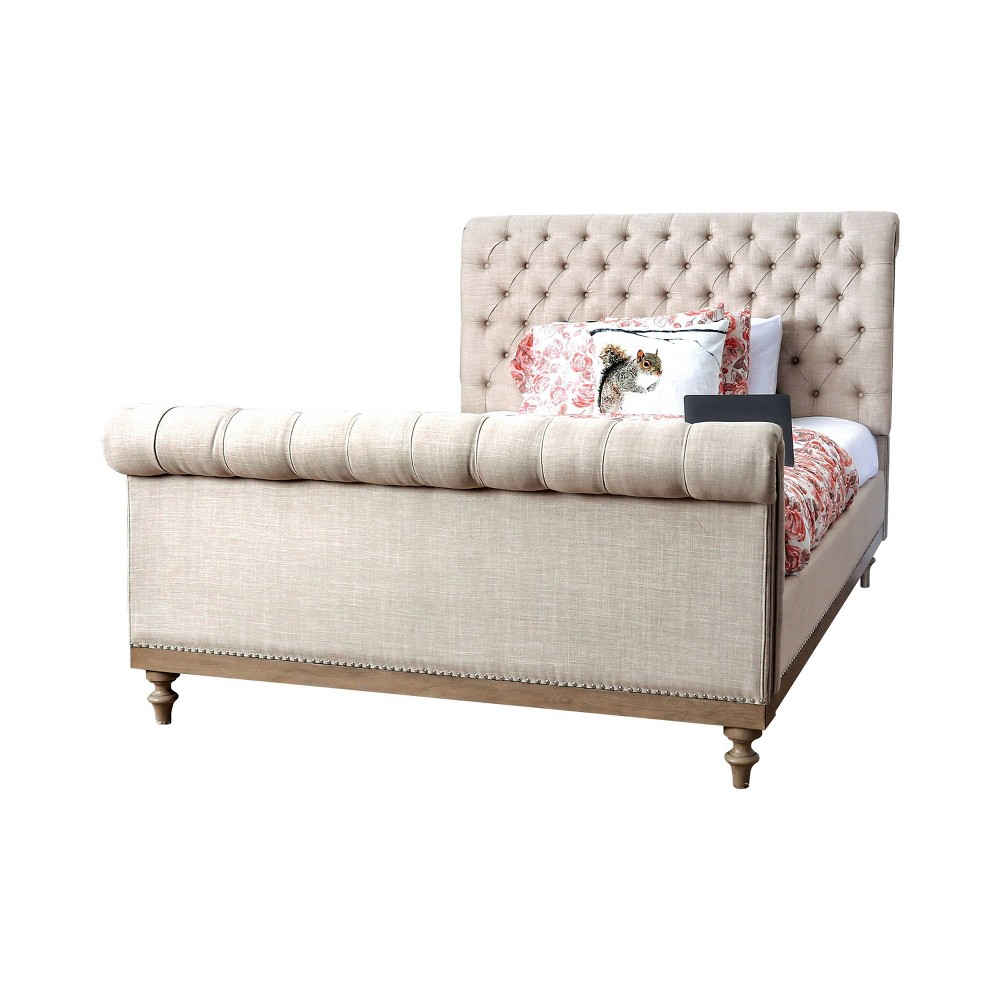 Avery Tufted Sleigh Bed Full Prairie Beige - Homes: Inside + Out
