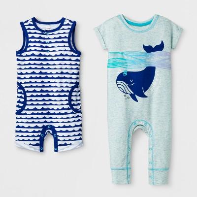 Baby Boys' 2pk Short Sleeve Bodysuit and Tank Romper Set - Cat & Jack™ Blue 3-6M