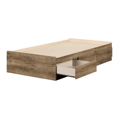Arlen Mates Bed with 3 Drawers Weathered Oak - South Shore