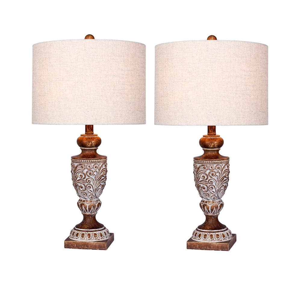Distressed, Decorative Resin Table Lamps in Antique Brown (Lamp Only) - Fangio Lighting