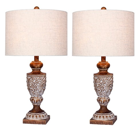 Distressed, Decorative Resin Table Lamps in Antique Brown  - Fangio Lighting - image 1 of 2