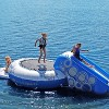 RAVE Sports O Zone Plus 5 Foot Inflatable Water Bouncer Trampoline with Attached Slide, Handles, and Boarding Platform, Blue and White - image 3 of 4