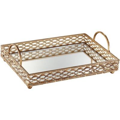 "Dahlia Studios Magot 16"" Wide Antique Gold Mirrored Tray"