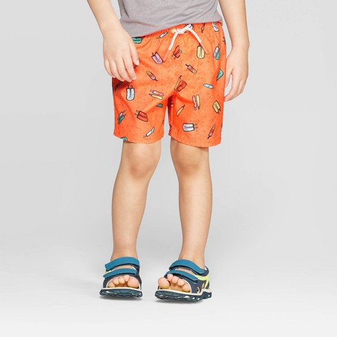 Toddler Boys' Popsicle Print Swim Trunks - Cat & Jack™ Orange - image 1 of 3