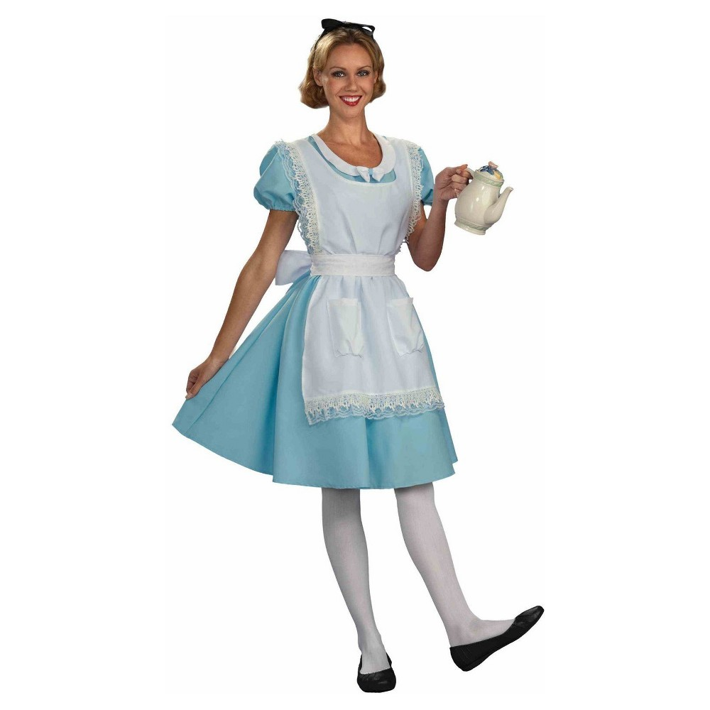 Image of Halloween Adult Disney Alice in Wonderland Halloween Costume Dress with Hair Ribbon - Large, Women's, MultiColored