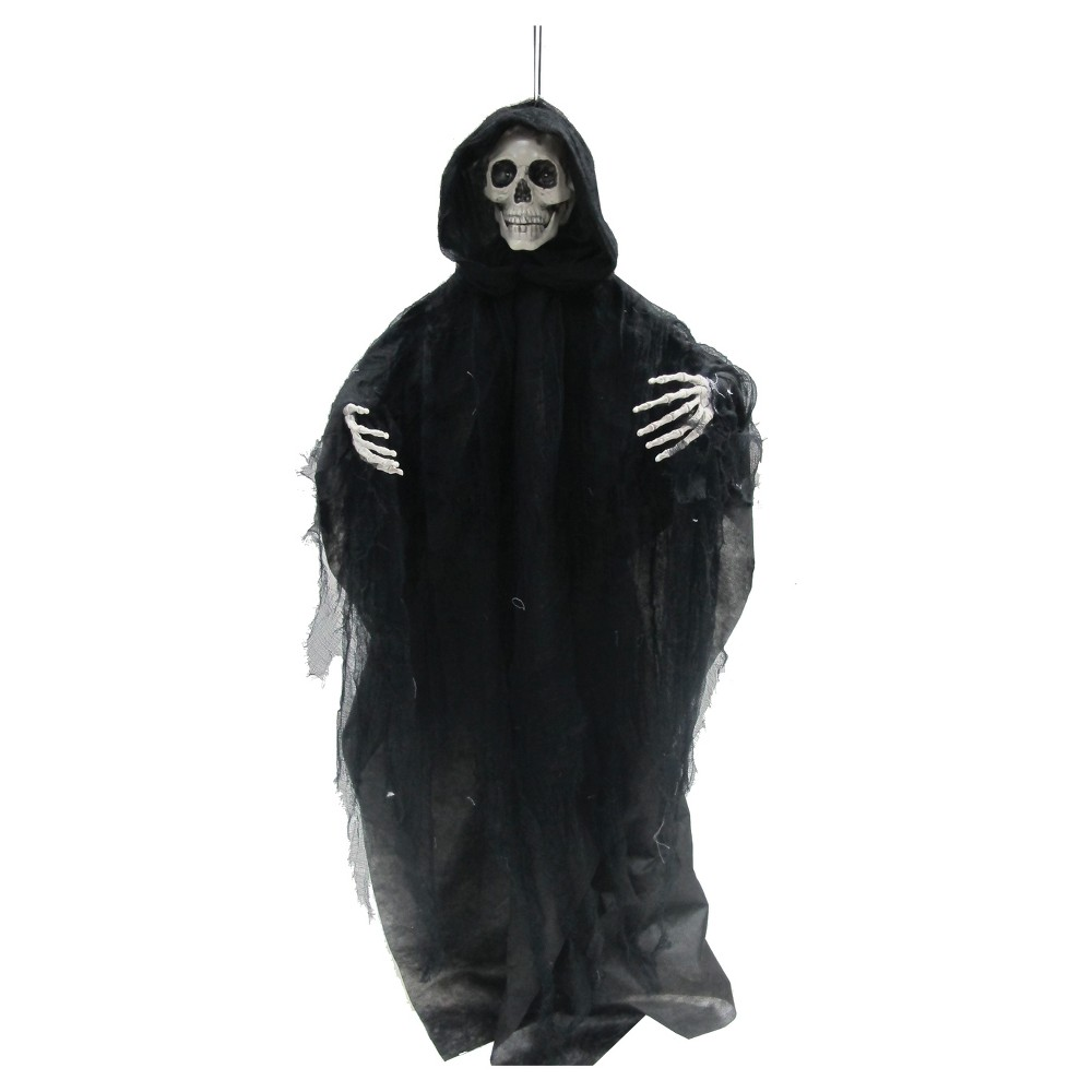 Image of Halloween Talking Reaper 3 Ft, Black