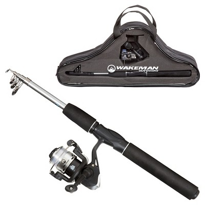 Wakeman Telescopic Spinning Rod and Reel Combo - Black Ultra Series