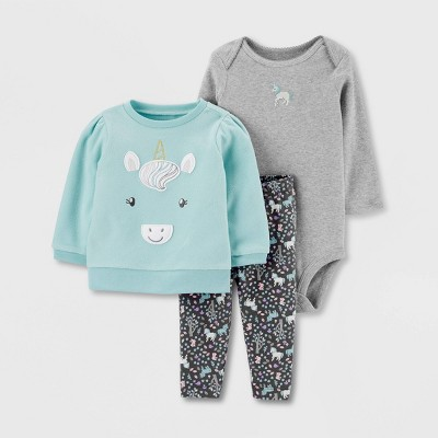 Baby Girls' 3pc Unicorn Pullover,Bodysuit Set - Just One You® made by carter's Gray/Blue Newborn