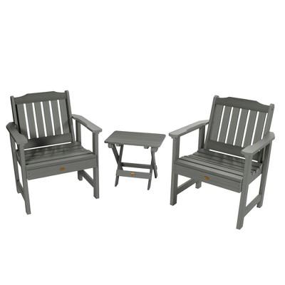 Lehigh 2pk Garden Chairs with 1 Folding Adirondack Side Table Coastal Teak Gray- Highwood