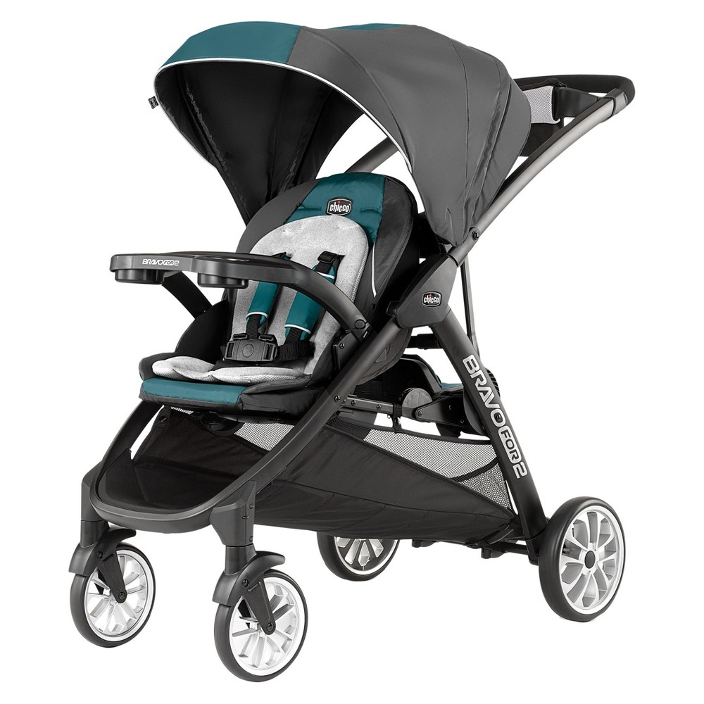 Image of Chicco BravoFor2 LE Double Stroller Eucalyptus, Gray
