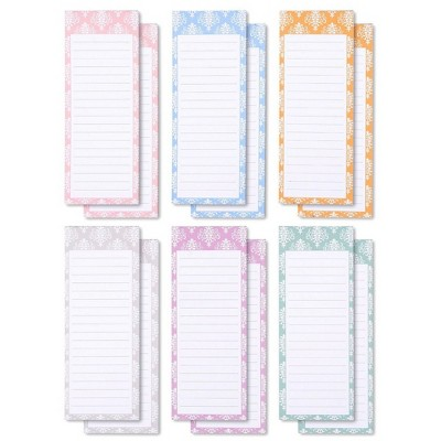 Juvale 12 Pack Magnetic Notepad for Fridge, Grocery Shopping To Do List Memo Note Pad, 6 Colors, 3.5x9 in
