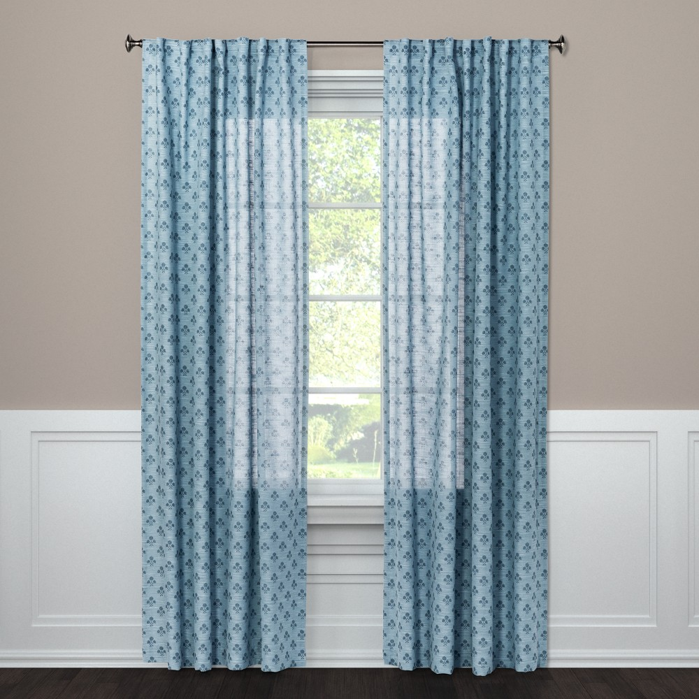 63x54 Suzani Light Filtering Curtain Panel Blue - Threshold was $19.99 now $9.99 (50.0% off)