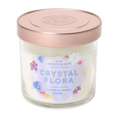 4oz Lidded Glass Jar Candle Crystal Flora - Signature Soy