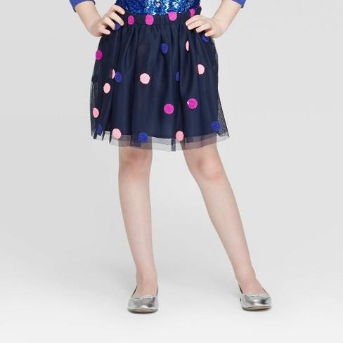 Girls' Polka Dot Pom-Pom Skirt - Cat & Jack™ Navy - image 1 of 3