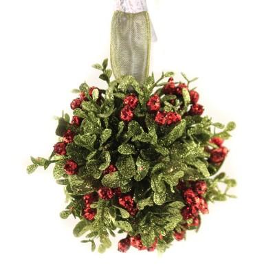 "Holiday Ornament 4.5"" Kissing Ball Berries Mistletoe  -  Tree Ornaments"