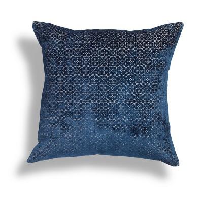 "20""x20"" Oversize Azuli Geometric Cut Velvet Square Throw Pillow - Sure Fit"
