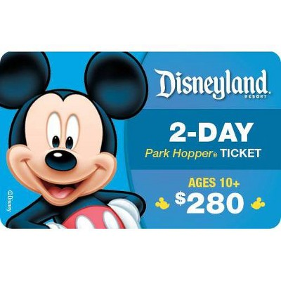 Disneyland California 2 Day Park $280 Prepaid Card Hopper (Ages 10 and above)