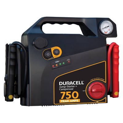 Duracell 750 Peak Amp Portable Emergency Jump Starter with Compressor