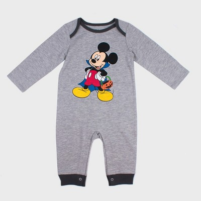 Baby Boys' Disney Mickey Mouse & Friends Mickey Mouse Long Sleeve Romper - Gray 0-3M