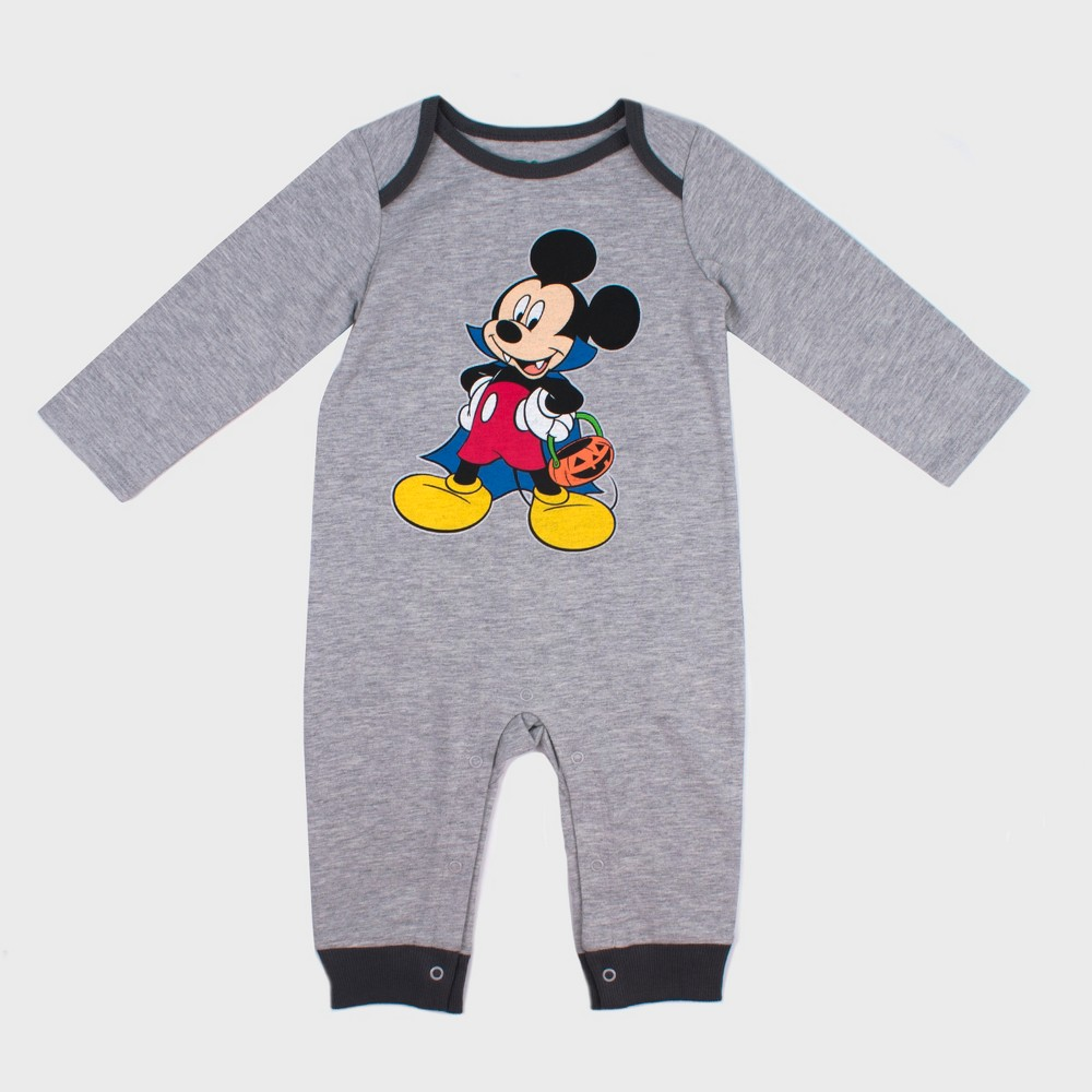 Baby Boys' Disney Mickey Mouse & Friends Mickey Mouse Long Sleeve Romper - Gray 3-6M