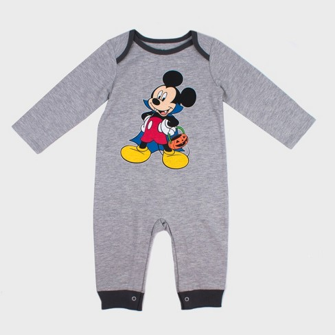 7c7767939fa4 Baby Boys  Disney Mickey Mouse   Friends Mickey Mouse Long Sleeve Romper -  Gray