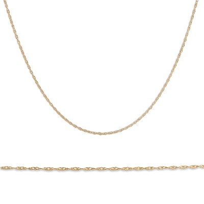 """Pompeii3 Solid 10k Yellow Gold 18"""" Dainty Chain With Spring Ring"""