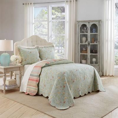 Multicolor Floral Stripe Garden Glitz Bedspread Set 3pc - Waverly®