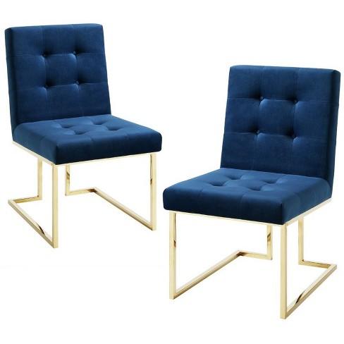 Evan Navy Blue Velvet Dining Chair - Set of 2 - Armless - Chrome Frame in Blue - Posh Living - image 1 of 3