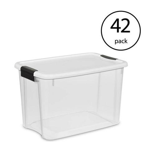 Sterilite 1985 30 Quart Ultra Latch Clear Storage Box with White Lid 24 Pack