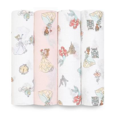 aden + anais Essentials Disney Princess Swaddle Blankets - 4pk