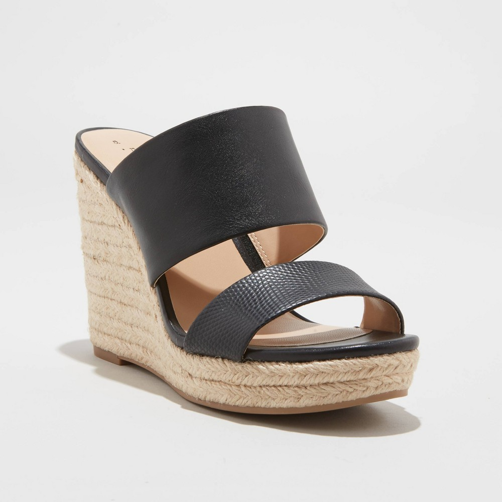 Image of Women's Adelina Faux Leather Two Band Espadrille Wedge Pumps - A New Day Black 10, Women's