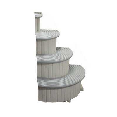Confer CCX-ADD 4-Step Above Ground Swimming Pool Entry Steps Curved Add-on, Gray