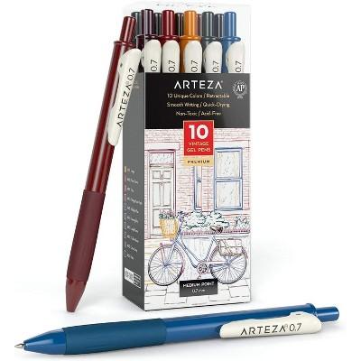 Arteza Retractable Gel Ink Colored Pens Set, Vintage Colors - Doodle, Draw, Journal - 10 Pack (ARTZ-9636)