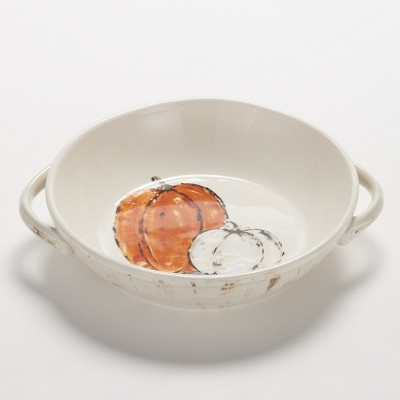 Lakeside Harvest Serving Bowl for Thanksgiving, Halloween with Pumpkins, Rustic Finish