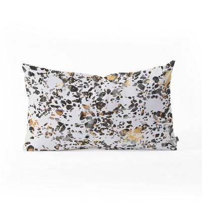 Elisabeth Frederickson Speckled Terrazzo Oblong Lumbar Throw Pillow Bright Gold - Deny Designs