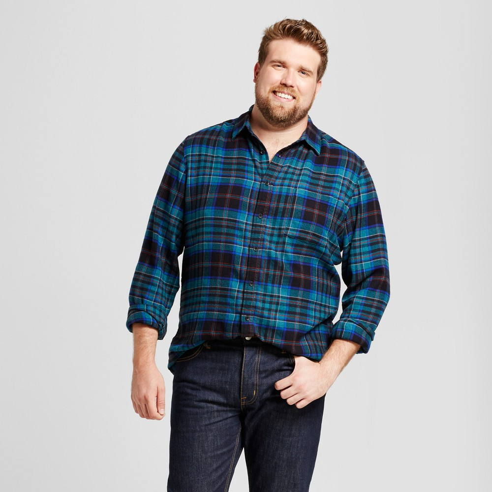 Men's Tall Long Sleeve Heavyweight Flannel Shirt - Goodfellow & Co Mint Green Xlt