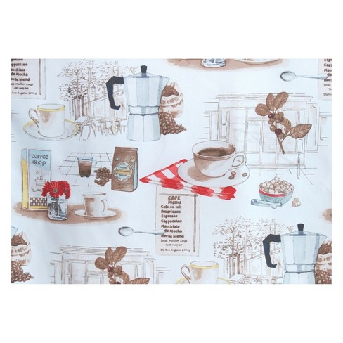 Brew Coffee Theme Microfiber 3 Piece Kitchen Curtain Valance And Tiers Set White 54 X36 No 918 Target