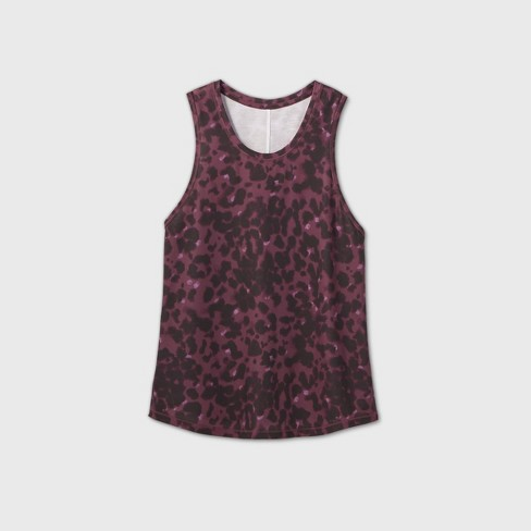 Women's Leopard Print Active Tank Top - All in Motion™ Berry - image 1 of 2
