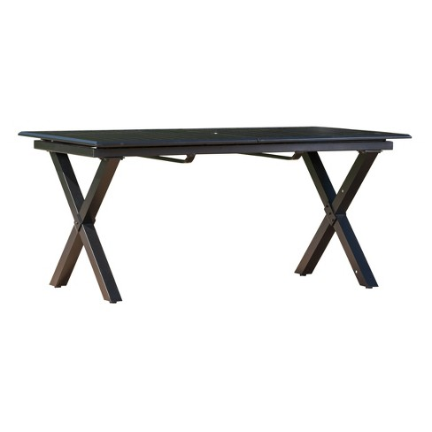 Exuma Rectangular Cast Aluminum Expandable Dining Table Black Christopher Knight Home Target