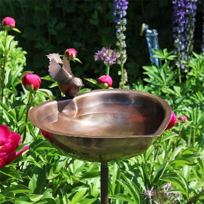 "3.5"" Heart Shaped Birdbath Bowl with Stake Antique Copper - ACHLA Designs"