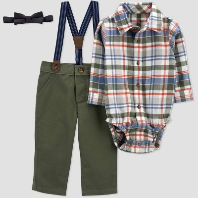 Baby Boys' 3pc Plaid Top & Bottom Set - Just One You® made by carter's Olive 6M