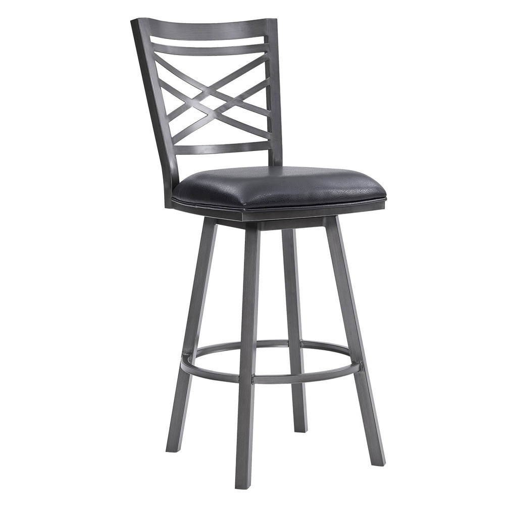 "Image of ""30"""" Fargo Counter Height Metal Barstool in Mineral Finish with Faux Leather Black - Armen Living"""