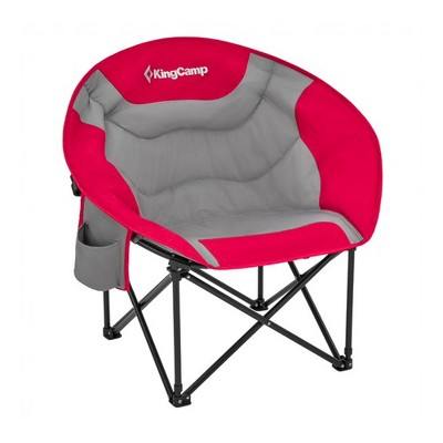 KingCamp Folding Portable Indoor or Outdoor Waterproof Saucer Lounge Camping and Bedroom Chair with Cupholder and Back Storage Pocket, Red/Grey
